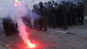 Путин, Мун Чжэ Ин, Малкольм Тернбулл, Россия, Корея, Австралия, G20, Гамбург, саммит G20, митинг, протесты, происшествия, Германия