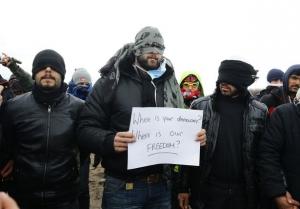 франция, беженцы, снос лагеря, акция протеста