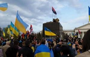 Статуя, Краматорск, Донбасс, митинг, АТО, происшествия, Ленинопад, ДонОГА, вне закона