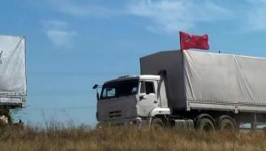 Граница, Украина, Россия, грузовики, флаги, въехали, гуманитарный