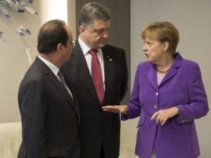 Порошенко, Олланд, Меркель,  Германия, Франция, Украина, Донбасс