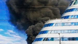 пожар, чрезвычайное происшествие, горит гостиница центр Москва-Сити, Москва