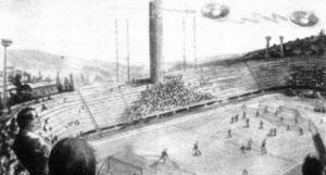 НЛО, неопознанный летающий объект, тарелка, инопланетяне, пришельцы, кадры, фото, новости, Италия, Флоренция, футбол, футбольный матч, 27 октября 1954