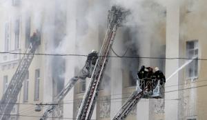 пожар в москве, здание минобороны рф, возгорание, пламя, видео, россия