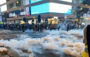 Гонконг, Китай, Протестующие, Митинг, Полиция, Слезоточивый газ, Видео, Твиттер, Соцсети