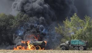 Техника, горит, трасса, Донецк, Мариуполь