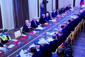 лариса барычева, заседание совбеза рф, желто-синяя шаль барычевой, владимир путин, политика, общество, россия