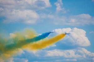 Украина, Авиашоу, Днепр, День независимости, Украинские летчики, Самолеты, Государственный флаг