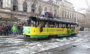 Украина, пожар, одесса, трамвай, происшествие