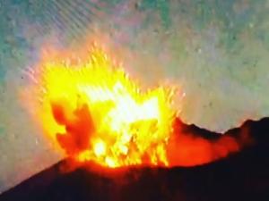 япония, вулкан, извержение вулкана