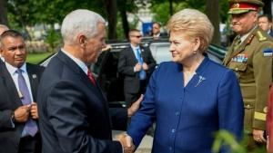 Даля Грибаускайте, Белорусская АЭС, Майк Пенс, безопасность в странах Балтии, гибридная угроза