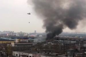 москва, россия, пожар, склад, новогвардейская, огонь