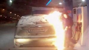 Россия, общество, Сургут, пожар, автозаправка, видеорегистратор, огонь