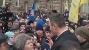 кличко, киев, мэрия, протест, пенсионеры
