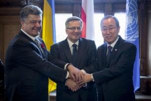 порошенко, встреча, коморовский, оон, пан ги мун, политика, польша, украина, новости