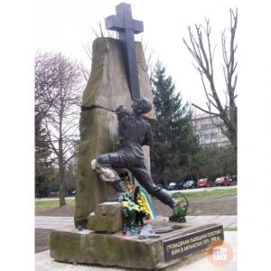 украина, львов, памятник воинам-афганцам, вандализм, ремонт