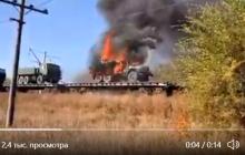 Российская военная техника загорелась прямо на ж/д платформе, возможен взрыв: колонну могли везти на Донбасс