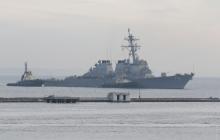 """Эсминец США Donald Cook с ракетами """"Томагавк"""" зашел в порт Одессы для важной миссии против агрессора - кадры"""