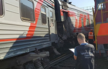 В российской Уфе на ж/д станции столкнулись поезда