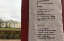 """В Санкт-Петербурге вывесили Конституцию, напечатанную на туалетной бумаге: фото скандального """"арт-объекта"""""""