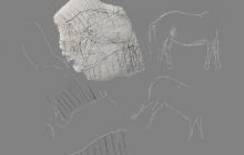 Археологи нашли во Франции камень с мезолитическими рисунками