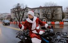 Кличко на квадроцикле в костюме деда Мороза: как прошло открытие моста на Шулявке