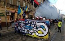 Во Львове ультрас Украины и Хорватии устроили шествие и упомянули на нем Путина - яркие кадры