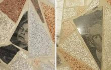 """Пол """"в лицах"""": в Усть-Каменогорске выстелили пол из надгробных плит - видео"""