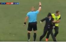 Pussy Riot в костюмах полицейских выскочили на поле во время матча финала ЧМ в Москве – кадры