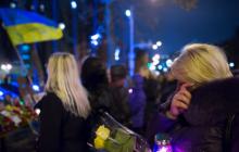 В Киеве на Майдане Независимости прошла акция в память о погибших героях во время Революции Достоинства - кадры