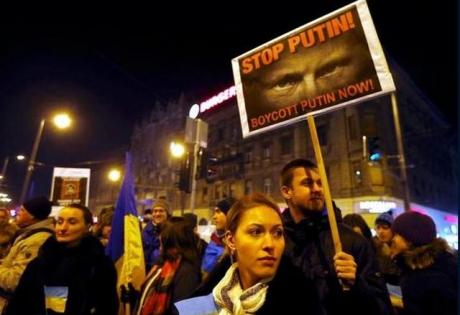 будапешт, венгрия, россия, митинг, путин, общество