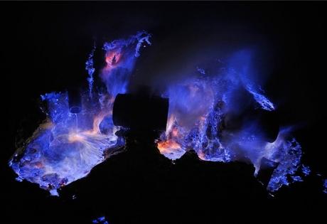вулкан, индонезия, сера