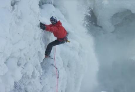 альпинист, скалолаз, ниагарский водопад, экстрим