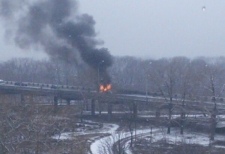 Как выглядит место взрыва в Кировском районе Донецка после происшествия
